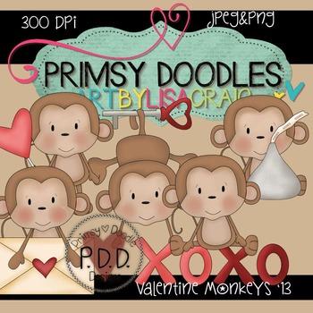 Valentine Monkeys 300 dpi Clipart