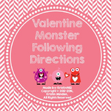 Valentine Monster Following 1,2,3 Step Directions