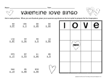 Valentine Multiplication Bingo - Two-Digit Multiplication