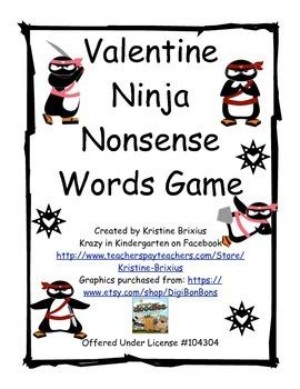 Valentine Ninja Nonsense Word Game