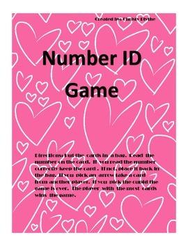 Valentine Number ID game.