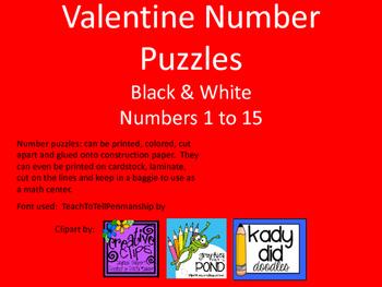 Valentine Number PuzzlesBlack & WhiteNumbers 1 to 15