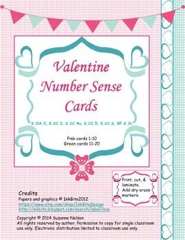 Valentine Number Sense Cards