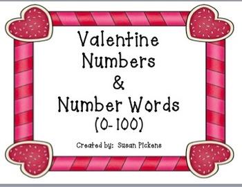 Valentine Numbers & Number Words (0-100)