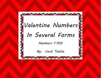 Valentine Number Cards--Standard, Word, Expanded Form; 10