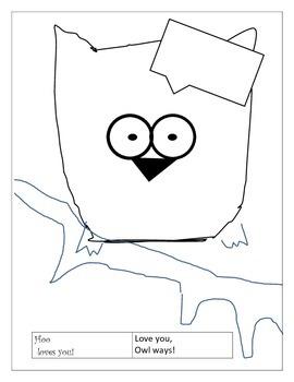 Valentine OWL : color, cut and paste