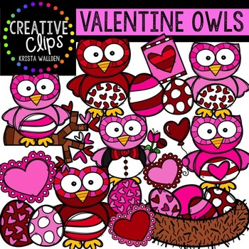 Valentine Owls {Creative Clips Digital Clipart}