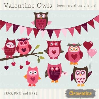 Valentine Owls clip art