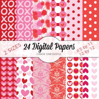 Valentine Paper, Valentines Day, Hearts, Digital Paper, Va