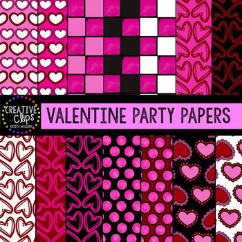 Valentine Clipart Party Papers {Creative Clips Clipart}