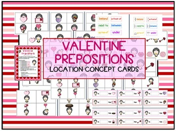 Valentine Prepositions - 72 Location / basic concepts card