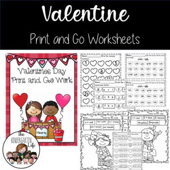 Valentine Print and Go: No Prep, Common Core