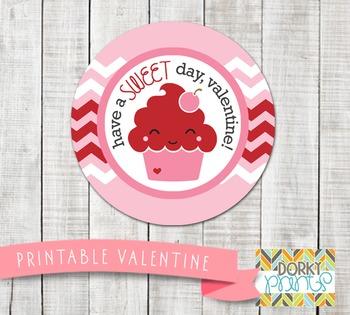 Valentine Printables - Valentine Circle Tag Cupcake