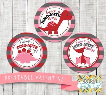 Valentine Printables - Valentine Circle Tag Dinosaurs
