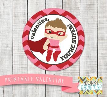Valentine Printables - Valentine Circle Tag Super Boy
