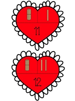 Valentine Puzzles for 11-20-Learning About Tens and Ones