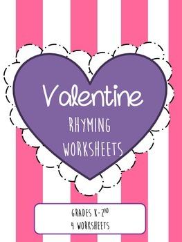 Valentine Rhyming Worksheets--Differentiated