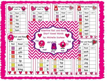 Valentine Roll and Read Short Vowel Words