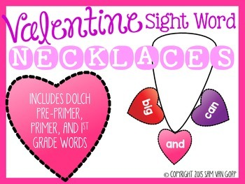 Valentine Sight Word Necklaces