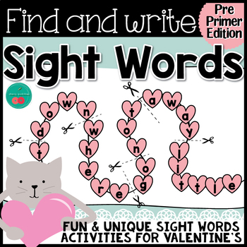 Valentine's Day Sight Words {PRE-PRIMER}  {Print & Go} or