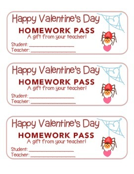 """Valentine"" Spider - Homework Pass – Holiday FUN! (full co"