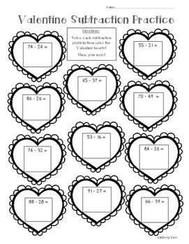 Valentine Subtraction Math Practice Worksheet