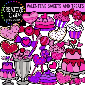 Sweets and Treats Valentine Clipart {Creative Clips Clipart}
