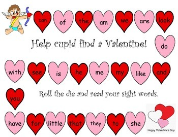 Valentine Theme Sight Word game