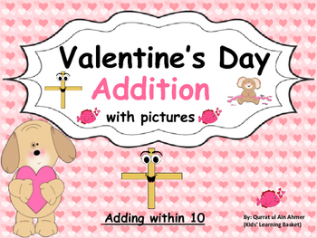 Valentine Themed Addition with Pictures (adding within 10):