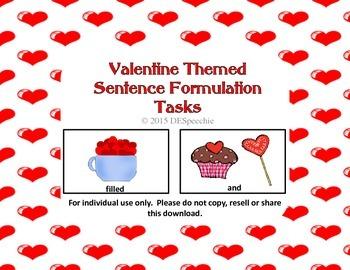 Valentine Themed Sentence Formulation Tasks - FREEBIE!