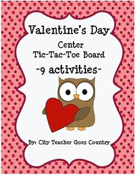 Valentine Tic Tac Toe/Menu Board of 9 Center Activities (a