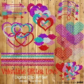 Valentine Valentine's Day Glitter Love Digital Clipart