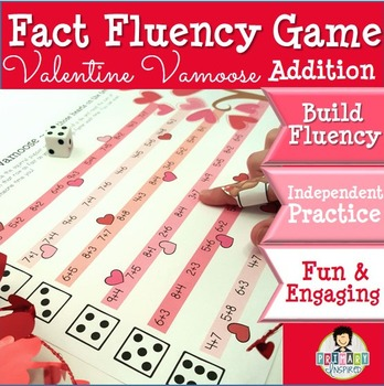 Addition Math Fact Fluency Game Valentine