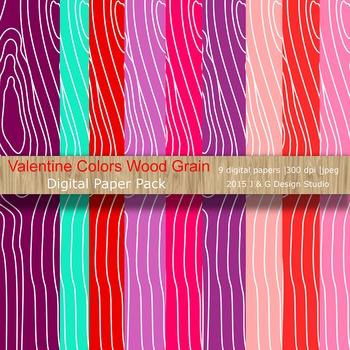 Valentine Wood Grain Digital Paper Pack Collection (3006)