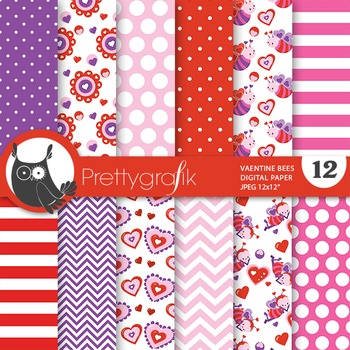 Valentine bees digital paper, commercial use, scrapbook pa