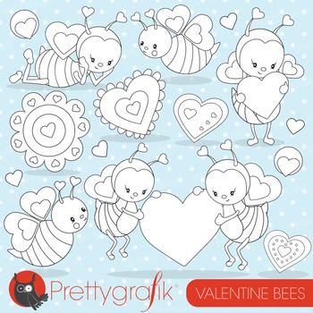 Valentine bees stamps commercial use, vector graphics, ima