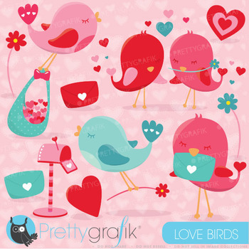 Valentine birds clipart commercial use, valentine vector g