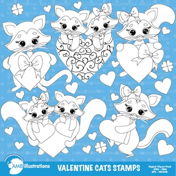 Clipart Stamps, Valentine cats,Valentine kittens Outlines