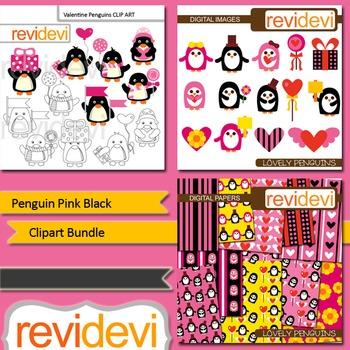 Valentine clip art: Penguin Pink Black clipart bundle (3 packs)
