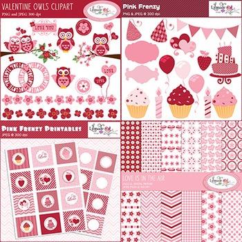 Valentine clip arts, printables and digital papers bundle