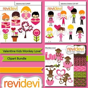 Valentine clipart: Valentine kids monkey love clip art bun