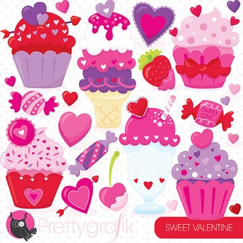 Valentine desserts clipart commercial use, vector, digital