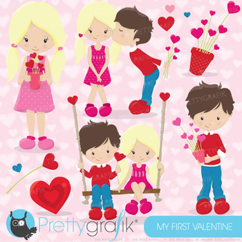 Valentine kids clipart commercial use, vector graphics,  - CL632