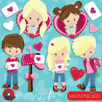 Valentine kids clipart commercial use, vector graphics, di