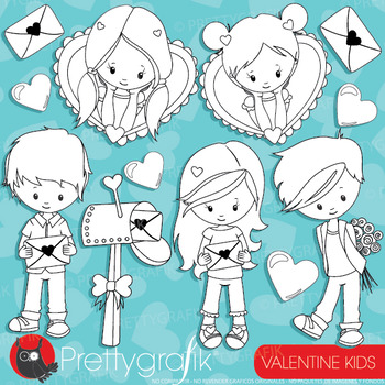 Valentine kids stamps commercial use, vector graphics, ima