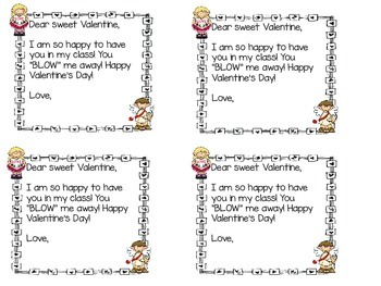 Valentine note to students