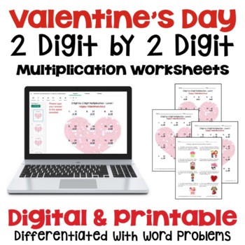 Valentine's Day: 2 Digit by 2 Digit Multiplication (3 Leve