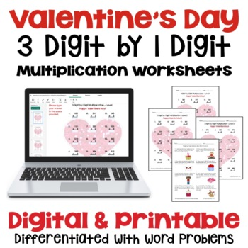Valentine's Day: 3 Digit by 1 Digit Multiplication (3 Leve