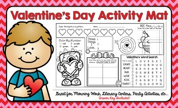 Valentine's Day Activity Mat - A Page FULL Of Fun Valentin