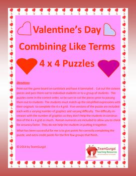 Valentine's Day Algebra Puzzle Freebie! Combining Like Ter
